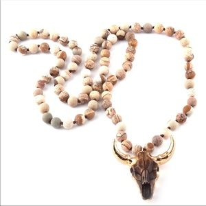 NEW, Buffalo/Cattle Head Brown Beaded Necklace